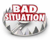 Bad Situation 3d Words Bear Trap Trouble Problem Issue. Bad Situation 3d words in a steel bear trap to illustrate danger of being caught in a trap, trouble Stock Photos