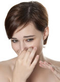 Bad smell. Concept (woman portrait Stock Image