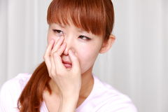 Bad smell. Concept shot of stress and frustration royalty free stock photography