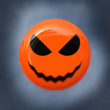 Bad smile. Orange smiley with evil smile, in background dark syk, blur effect on mouth vector illustration