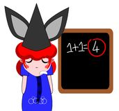 Bad student. Julia is a bad student has not studied the lessons and she does not resolved this mathematical calculation. On her head the teacher put an hat with Royalty Free Stock Photography