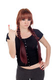 Bad teenage girl dressed in black with a piercing Royalty Free Stock Images