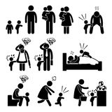 Bad Temper Toddler Baby Tantrum Mother Father Cliparts. A set of human pictogram representing a bad temper baby that keep wanting his parent company, disturbing stock illustration