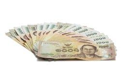 1000 bad Thaise die bankbiljetten op witte achtergrond worden geïsoleerd bankbiljet Royalty-vrije Stock Afbeeldingen