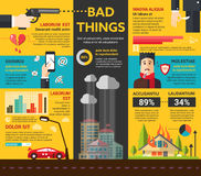 Bad Things - poster, brochure cover template. Bad Things - info poster, brochure cover template layout with flat design icons, other infographic elements and Royalty Free Stock Image