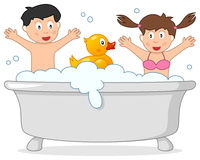 Bad Tid med två ungar & gummiand stock illustrationer