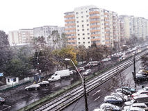 Bad time,snow in Bucharest Royalty Free Stock Images