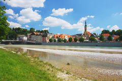 Bad Tolz, Germany. View across the isar river to the center Bad Tolz, Germany Royalty Free Stock Images