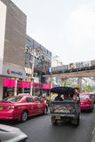 Bad traffic at entrance of Siam Square Stock Photo