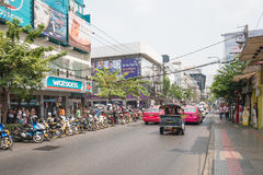 Bad traffic at entrance of Siam Square royalty free stock photo