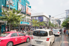 Bad traffic at entrance of Siam Square Royalty Free Stock Image
