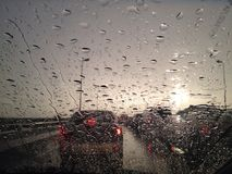 Always bad traffic when it rains. Bad traffic in one evening while raining Stock Photos