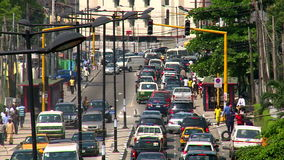Bad traffic in west african city. View of traffic in Lagos, Nigeria stock footage