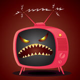 Bad TV. Vector illustration of cartoon television with an evil demonic face. EPS 8 file, no transparency Stock Photography