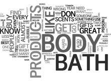 Bad-und Körper-Produkt-Wort-Wolke Lizenzfreie Stockbilder