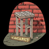 Bad vacancy. Job vacancy. Job offer. Poor job offer. Bad vacancy. Rickety stool with spikes in the spotlight on the brick wall background. Vector illustration Stock Photo