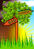 Bad vs good opposite sign board Royalty Free Stock Image