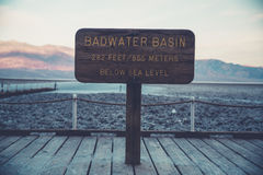 Bad Water Basin Below Sea Level 865 Meters Sign Board during Day Stock Photography