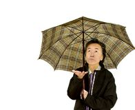 Bad weather. Old adult man with umbrella  worry looking for rain  white background Stock Photography