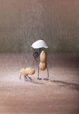 Bad Weather. Miniature with Peanut Man and Dog under umbrella Royalty Free Stock Photo
