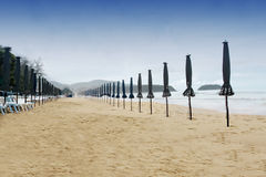 Bad weather. On the beach royalty free stock photo