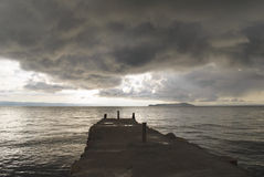 Bad weather above the Yumani dock at Lake Titicaca Stock Image