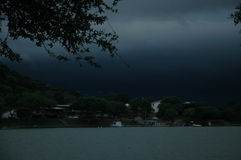 Bad Weather Ahead. Storm approaches on lake. Cold Front Stock Image