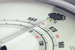 Bad Weather Barometer Close Up. 3D illustration of a barometer with needdle pointing a storm pictogram, horizontal image Stock Images