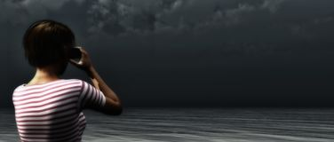 Bad weather in binoculars. Woman looking at the horizon for bad weather vector illustration