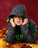 Bad weather. Boy in bad weather- outfit stock photos
