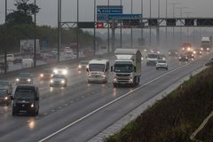 Bad weather on the British M1 motorway Stock Photography