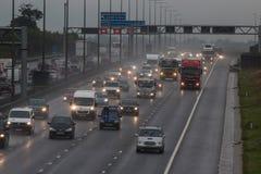Bad weather on the British M1 motorway Royalty Free Stock Photo