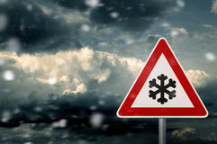 Bad Weather - Caution - Risk of Snow and Ice Stock Photo
