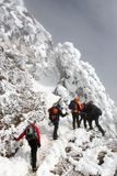 Bad weather for climbing. Climbing in the high altitudes during bad weather stock photography