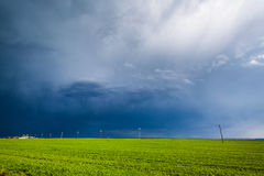 Bad weather coming. Storm clouds covering a corn field, bad weather coming Stock Photography