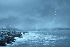 Bad weather on the dock Royalty Free Stock Images