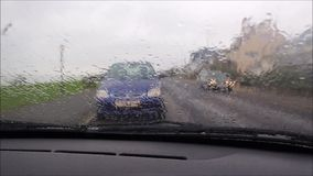 Bad weather driving conditions stock video footage