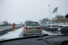 Bad Weather Driving on a Highway - Traffic Jam. rain in window Stock Image