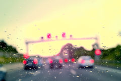 Bad Weather Driving - traffic jam on a highway Stock Photo
