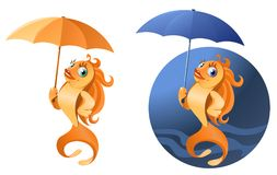Bad weather. Funny gold fish with umbrella. On dark background and isolated on white. Cartoon styled vector illustration. Elements is grouped. No transparent Stock Images