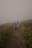 Bad weather hiking Royalty Free Stock Image