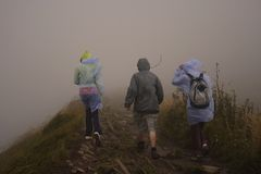 Bad weather hiking Stock Photos