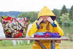 Bad weather on the lake Stock Photo