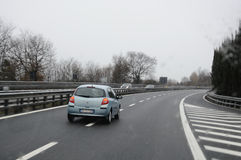Bad weather. On the motorway royalty free stock image