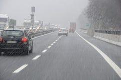 Bad weather. On the motorway stock photos