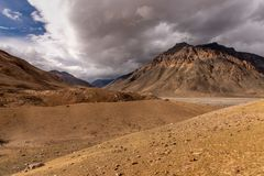 Bad weather in Mountain region. Barren landscape in Spiti Valley, Himachal Pradesh. India. The entire region is covered in snow for most part of the year and is stock photo