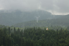 Bad weather in the mountains. Bad weather in the Carpathian Mountains royalty free stock photography