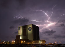 Bad weather at NASA. Bad weather with storm and lightnings around NASA facilities. It stopped the launch attempt of the space shuttle Endeavour Stock Image