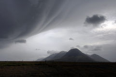 Bad weather over landscape in Iceland. Dramatic cloudscape over icelandic landscape near the Skaga Fjord (Skagafjordur) in northern Iceland Royalty Free Stock Photos