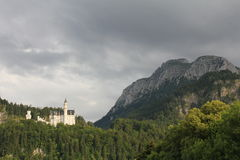 Bad weather over Neuschwanstein Castle Royalty Free Stock Photos